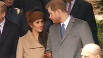 Meghan Markle and Prince Harry greet well-wishers after royal family's church service at Sandringham