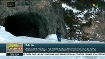 Migrantes intentan cruzar Los Alpes para internarse en Europa