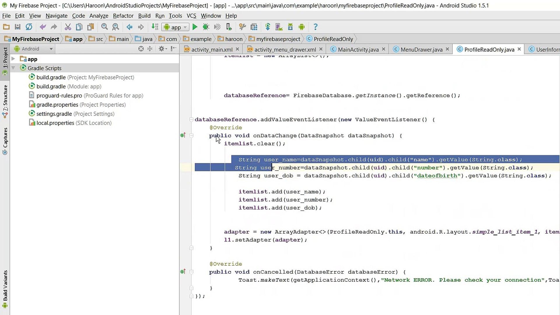 Retrieve specific data using Firebase Database in Android Studio Tutorial  Part 4