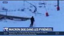 Emmanuel Macron skie à La Mongie