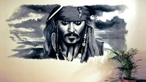 Johnny Depp Speed Drawing Wall Portrait - Pirates of the Caribbean