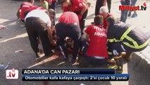 Otomobiller kafa kafaya çarpıştı  2'si çocuk 10 yaralı