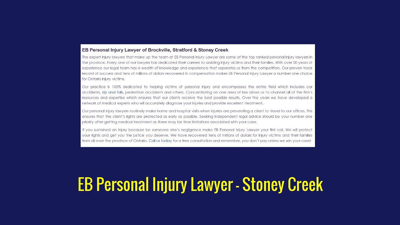 Personal Injury Lawyer Stoney Creek – EB Personal Injury Lawyer (800) 289-5079