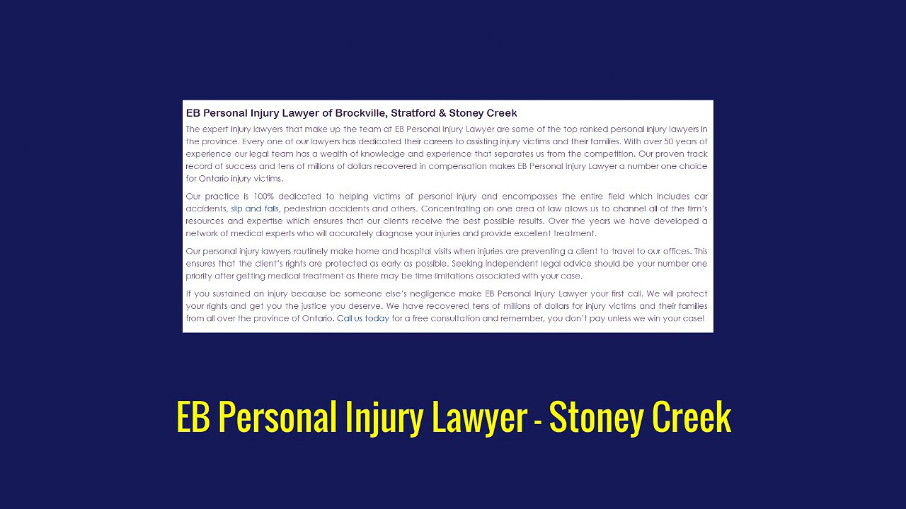 Personal Injury Lawyer Stoney Creek – EB Personal Injury Lawyer (800) 289-5079