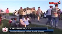 Tarım işçilerini taşıyan midibüs devrildi  32 yaralı