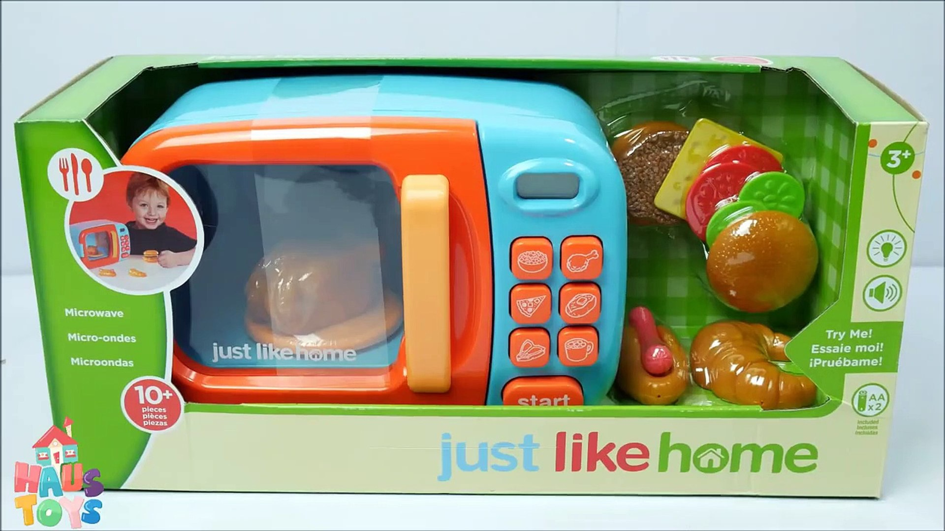 Just Like Home Toy Microwave Oven Play Kitchen and Play Doh Steak Chicken  Dinner by