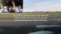 British Airways: A380 Takeoff from Heathrow Runway 27L