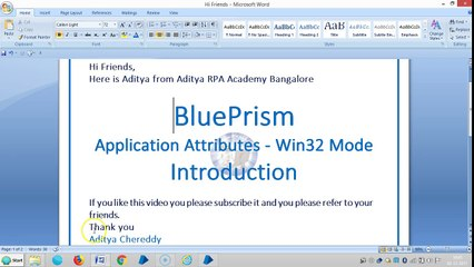 BluePrism-Application Attributes-Win32 Mode - BPAAW321001-  Introduction-Aditya RPA Academy