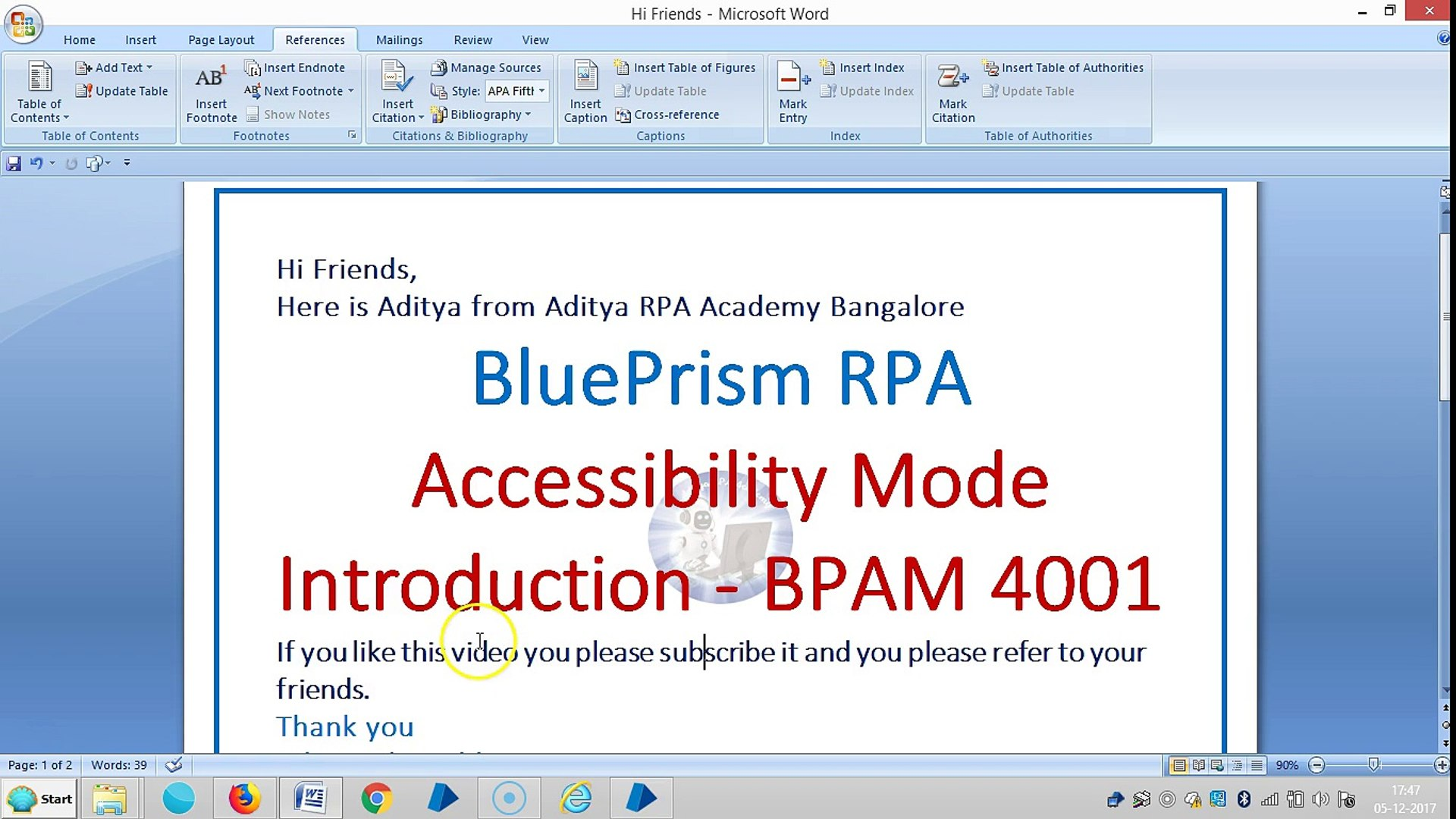 BluePrism-Accessibility Mode-Introduction-BPAM 4001-Aditya RPA Academy