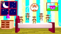 FIVE LITTLE MONKEYS - Jumping On The Bed - Nursery Rhymes, Crazy Monkeys, Song For Kids&