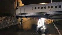 Un avion se retrouve le nez enfoncé dans un bâtiment de laéroport de Malte