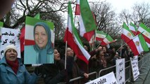 Iranian opposition supporters rally outside London embassy