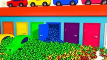 ⚽ Learn Colors For Kids - Colored Cars in Garage with Soccer Ball
