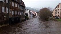 La Thur en crue à Thann après la tempête Eleanor
