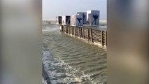 Les planches de Deauville frappées hier par la tempête Eleanor