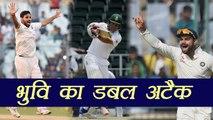 South Africa vs India 1st Test: Bhuvneshwar Kumar strikes, Dean Elgar OUT for 0 | वनइंडिया हिंदी