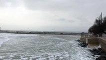 La plage du Grau d'Agde pendant l'alerte météo du 7 janvier 2017