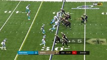 New Orleans Saints quarterback Drew Brees hits wide receiver Michael Thomas out of his break for 19 yards