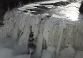 Drone Footage Captures Frozen Waterfalls of Letchworth State Park