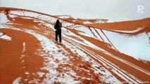 Voila à quoi ressemble la neige au Sahara