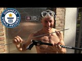 Most spears caught from a spear gun underwater - Guinness World Records