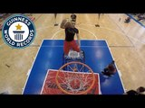 Most slam dunks with a trampoline by a team in one minute - Guinness World Records