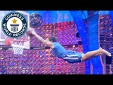Longest slam dunk from a trampoline - Guinness World Records