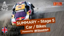 Summary - Car/Bike - Stage 5 (San Juan de Marcona / Arequipa) - Dakar 2018
