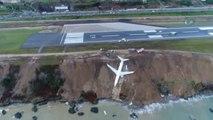 Cet avion turc se retrouve suspendu au bord d'une falaise après avoir raté son atterrissage