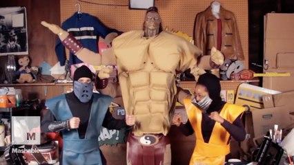 Finish these homemade 'Mortal Kombat' costumes of Scorpion and Goro