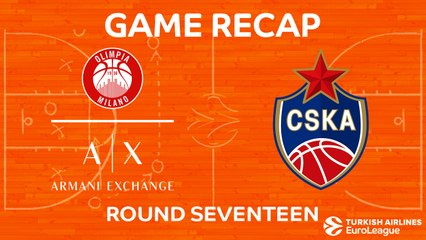 EuroLeague 2017-18 Highlights Regular Season Round 17 video: AX Milan 81-107 CSKA