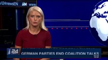 i24NEWS DESK | German parties end coalition talks | Friday, January 12th 2018