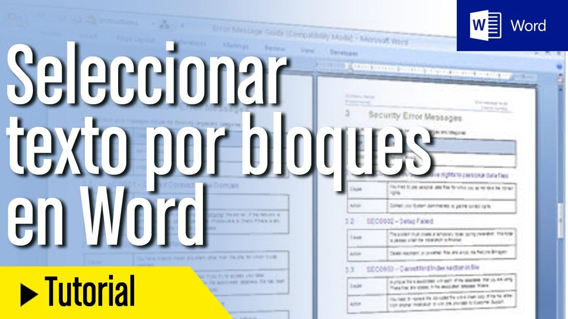 Tutorial Word En Español Cómo Seleccionar Texto Por Bloques Vídeo Dailymotion