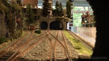 Fiddle yard or staging yard cab ride of a big 1 scale model train layout