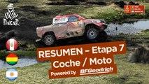 Resumen - Coche/Moto - Etapa 7 (La Paz / Uyuni) - Dakar 2018