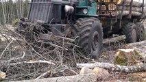 Forwarder Kockums SMV 21S logging in winter forest