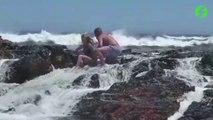 Il voulait juste la photo parfaite mais il vont prendre très cher sur les rochers