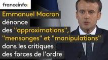 """Calais : Emmanuel Macron dénonce des """"approximations"""", """"mensonges"""" et """"manipulations"""" dans les critiques des forces de l'ordre"""