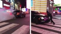 Une Mercedes AMG tape un gros burn et prend la fuite