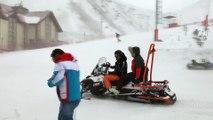 Snowboard Boardercross Dünya Şampiyonası - Antrenmanlara kar ve tipi engeli - ERZURUM