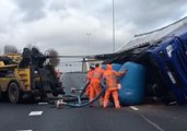 Road Crew Rights Truck Overturned by Intense Winds in Moordrecht