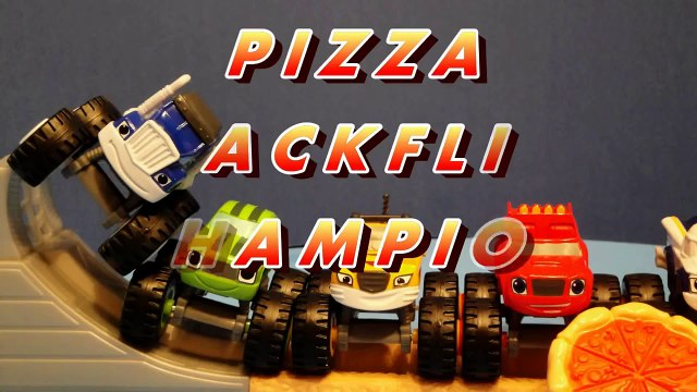 BLAZE AND THE MONSTER MACHINES Toys! PIZZA BACKFLIP CHAMPION Blaze Diecast Crusher Stripes Toys