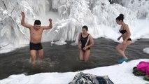 Brrr-ave tourists bathe in river in world's coldest village