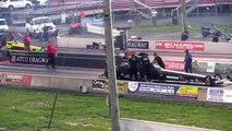 TAD Ben Dier Crash   Atco, NJ - 2016 LODRS NED drag race Top Alcohol dragster engine explode