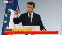 Emmanuel Macron ironise après l'explosion d'une ampoule lors de ses voeux aux armées