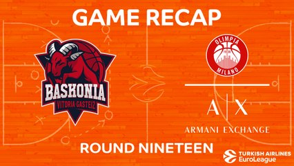 EuroLeague 2017-18 Highlights Regular Season Round 19 video: Baskonia 82-83 AX Milan