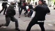 """Un militant """"antifa"""" se prend un énorme K.O lors d'une bagarre générale"""