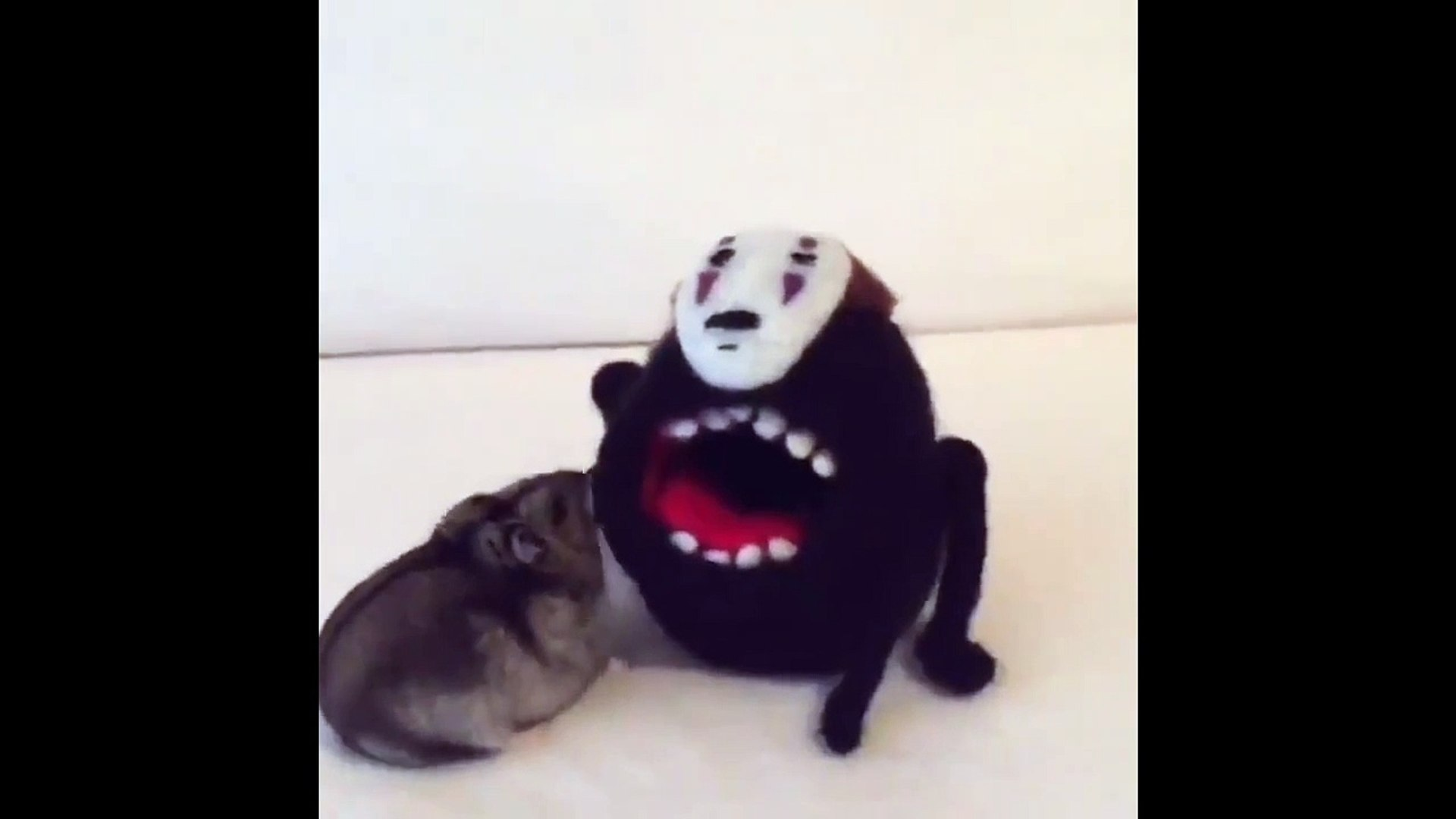 Fearless hamster battling giant No-Face - Spirited Away In Real Life ft Fearless Monster