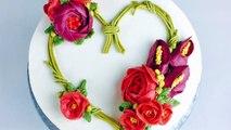Heart shaped Valentines Day flower wreath cake - How to make by Olga Zaytseva / CAKE TRENDS 2017 #4