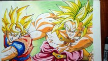 Dibujando a Goku vs Broly. Drawing Goku vs Broly. speed drawing goku VS broly